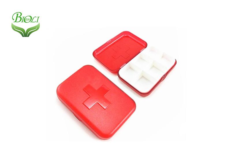 Пластиковый органайзер для таблеток 6 красный прозрачный